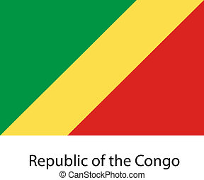Flag  of the country  republic congo. Vector illustration.