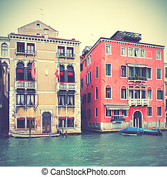 Venice - Houses on Grand Canal in Venice, Italy. Retro style...