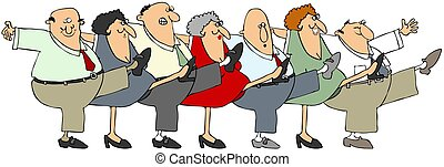 Senior citizen can-can - Illustration depicting senior men...