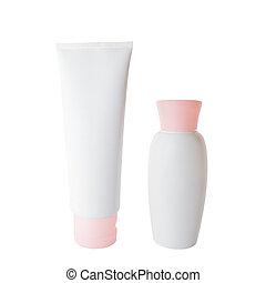 Cream tube and bottle - White plastic cream tube and bottle...