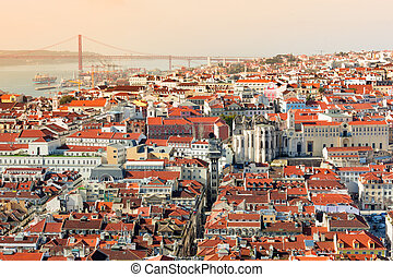 View of Lisbon, Portugal - View of Lisbon from the castle of...