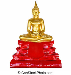 buddha statue on isolated white with clipping path.