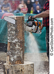 Chainsaw Sculptor carving log sculpture with spectators in...