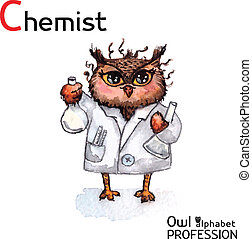 Alphabet professions Owl Chemist character on a white...