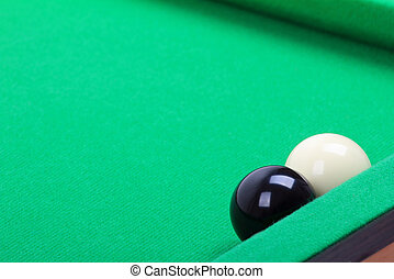 black and white ball on the billiard table