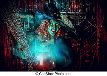 alchemy - Fairy wicked witch in the wizarding lair Magic...