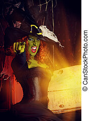 incantation - Close-up portrait of a fairy wicked witch in...