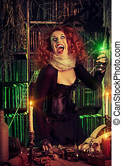 mystical lady - Attractive witch in the wizarding lair....