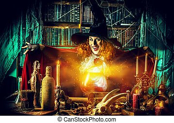 sorceress lady - Attractive witch in the wizarding lair....