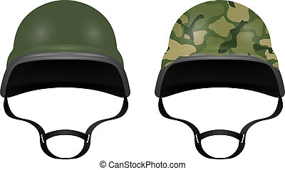 Military helmets isolated on white background Vector...