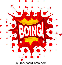 Cartoon BOING! on a white background. Vector illustration.