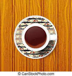 Cup of coffee on a saucer with Tribal pattern. Vector illustrati
