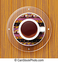 Cup of coffee on a saucer with Tribal texture. Vector illustrati