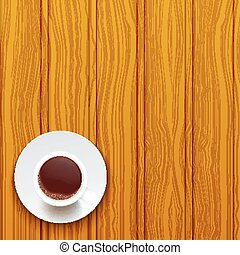 Cup of coffee on a wooden surface. Vector illustration