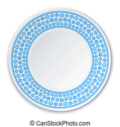 Porcelain plate on a painting of a blue snowflakes on a white ba
