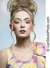 beauty girl with colorful make-up