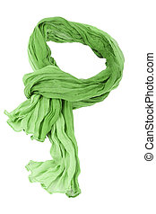 green cotton scarf isolated on a background