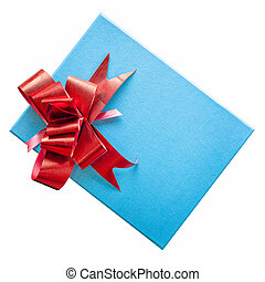 blue gift box with red ribbon on isolated white, clipping path.