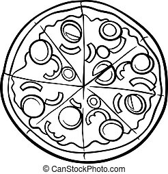 italian pizza cartoon coloring page - Black and White...
