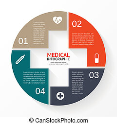 Medical circle plus sign infographic, diagram - Template for...