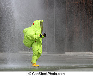 yellow suit protective radiation defense and infectious...