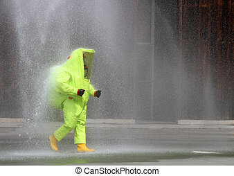 soldier with yellow suit protective radiation defense...