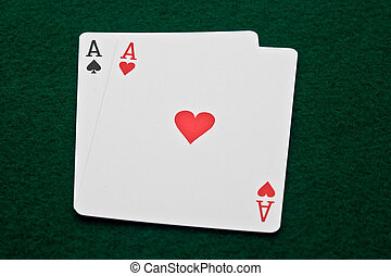 Aces - Horizontal Photo Ace of spades and ace of hearts on...