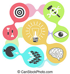 Icon set brain light bulb darts target fish eye gear - Icon...