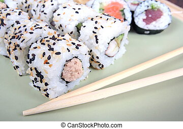 sushi, tradicional, alimento, japoneses