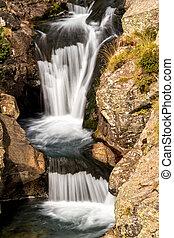 hermoso, velo, conexión en cascada, cascadas