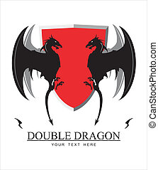 Double Dragon and red shield - Dragon and shield,...