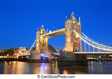 Tower Bridge in London - Tower Bridge with reflections in...