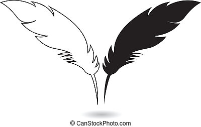 Feathers - White and black feathers with shadow eps10