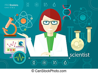 Profession scientist with icon elements of laboratory test...