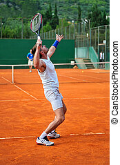 Uno, hombre, juego, tenis, Aire libre