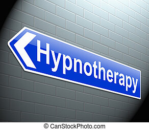 Hypnotherapy concept. - Illustration depicting a sign with a...