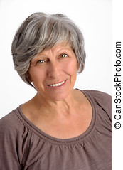 Smiling Old Gray Hair Woman Portrait - Close up Smiling Old...
