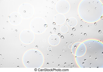 Drop water  - drop water with circle rainbow  background