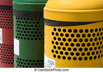 Waste separation bins - Colorfull waste separation bins on...