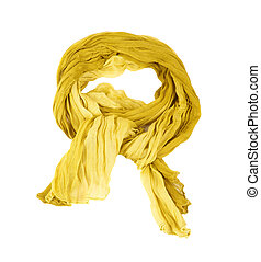Yellow cotton scraft , isolated on white background