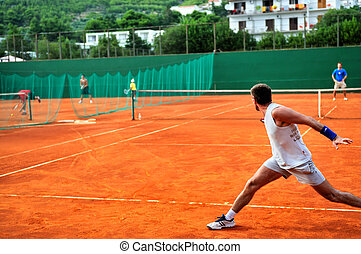 Man plays tennis outdoors - One Man play tennis on outdoor...