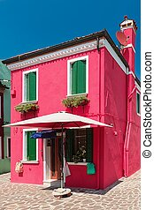 Colorful houses taken on Burano island , Venice, Italy