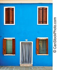 Colorful houses taken on Burano island , Venice, Italy in...
