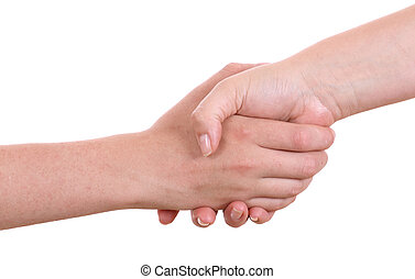 Mother giving hand to a teenager boy, isolated on white...
