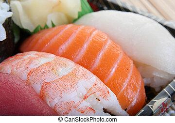 saudável,  -, jogo,  sushi, alimento