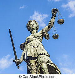 Justitia (Lady Justice) sculpture on the Roemerberg square...