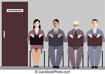 Age and job search - Elderly man sitting in a line to the...