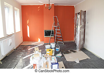 flat renovation, painting the wall and fireplace
