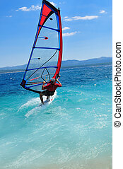 wind surf - man wind sirfing and have healthy lifestyle
