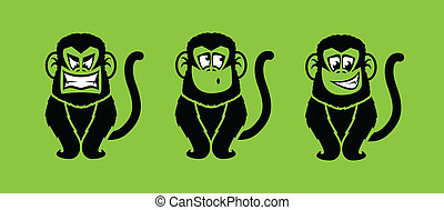 Monkeys - Monkey illustrations with various facial...